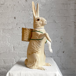 Papier-Mâché Standing Bunny With Basket in Off White
