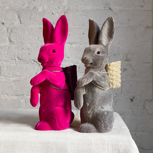 Flocked Bunnies With Baskets
