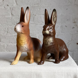 Papier-Mâché Seated Bunnies