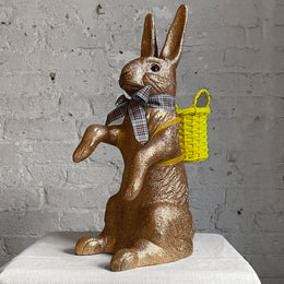 Papier-Mâché Seated Glitter Bunny in Brown
