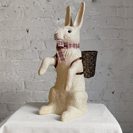 Papier-Mâché Seated Glitter Bunny in White