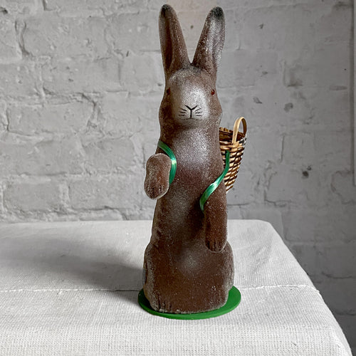 Papier-Mâché Beaded Standing Bunny with Wicker Basket