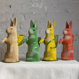 Papier-Mâché Beaded Standing Bunnies with Baskets