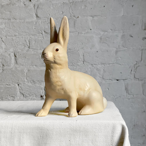 Papier-Mâché Seated Bunny in Off White