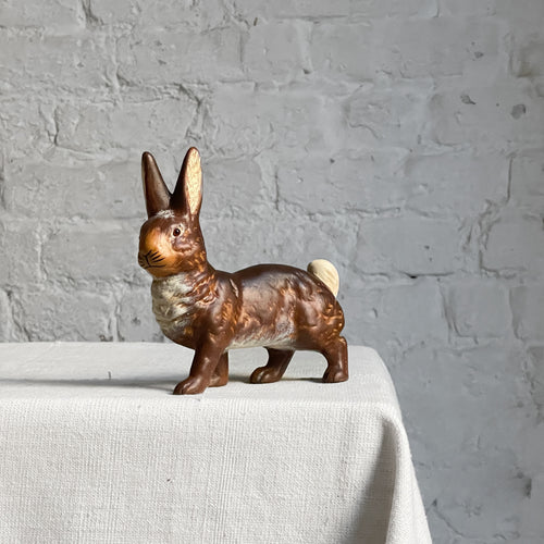 Papier-Mâché Small Walking Bunny in Dark Brown with Orange