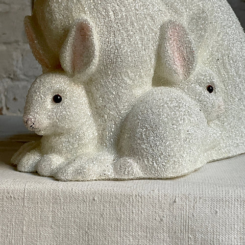 Papier-Mâché Beaded Bunny Family in White