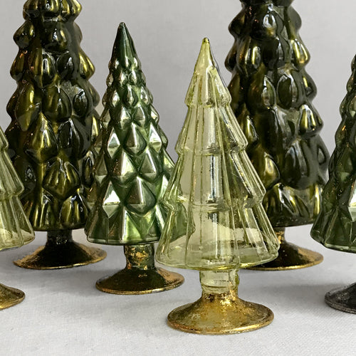 Set of 6 Small Hue Trees in Green