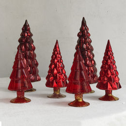 Set of 6 Small Hue Trees in Red