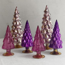 Set of 6 Small Hue Trees in Purple