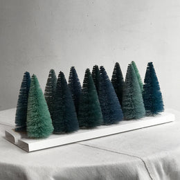 Set of 12 Rainbow Bottle Brush Trees in Blue