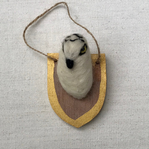 Felted Owl Plaque Ornament