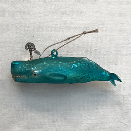 Teal Blue Whale Ornament