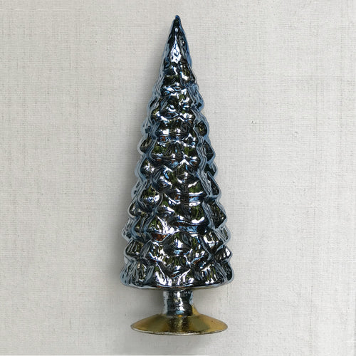 "11"" Standing Glass Tree in Blue"