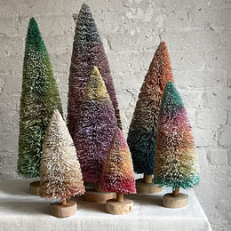 Set of 7 Glitter Buri Trees in Rainbow Frost
