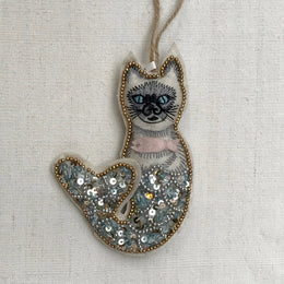 Beaded Mythical Mercat with Pink Fish Ornament