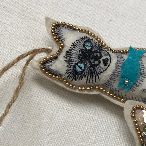 Beaded Mythical Mercat with Blue Fish Ornament