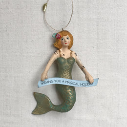 Magical Holiday Mermaid Ornament in Green