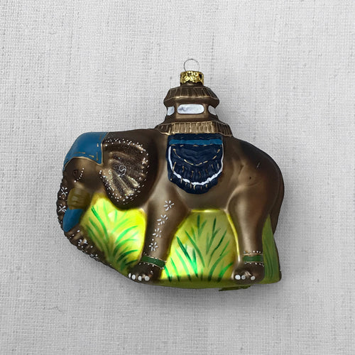 Palace Elephant Ornament in Blue