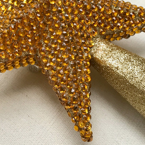 Jeweled 5 Point Star Tree Topper in Gold