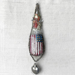 Victorian Santa with American Flag Ornament