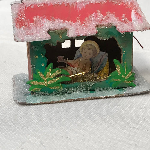 Nostalgic Paper Manger with Baby Jesus Ornament