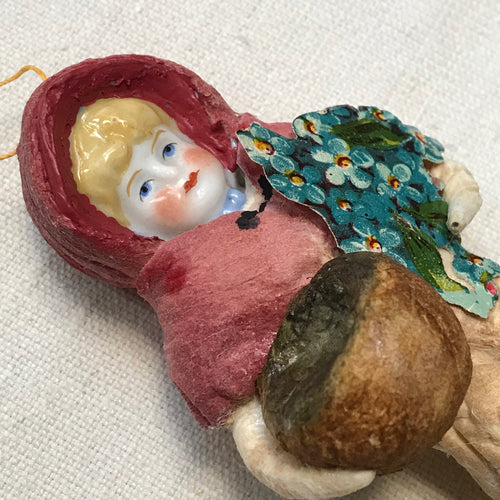 Nostalgic Cotton Girl with Basket Ornament