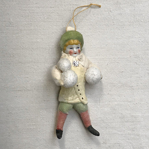 Nostalgic Cotton Boy with Snowballs Ornament