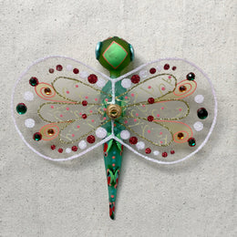 Green Dragonfly with Wings Ornament