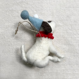Plush Dog with Red Collar & Party Hat Ornament