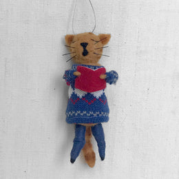 Felted Choir Cat in Blue Ornament