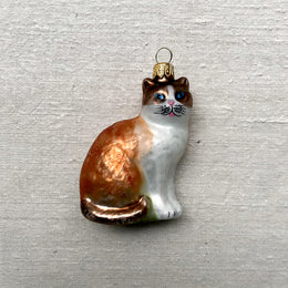 Peach & White Cat Ornament