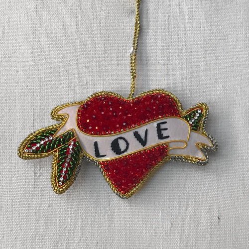 Beaded Red Crystal Heart Ornament