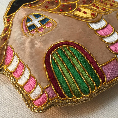 Embroidered Gingerbread House Ornament