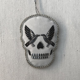 White Velvet Skull Trim Ornament with Ravens & Antique Decoration