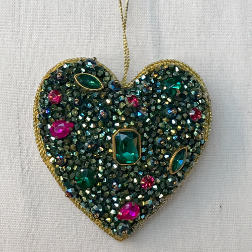 Beaded Green Heart Ornament with Magenta Crystals