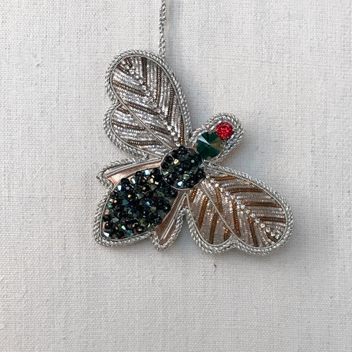Green Beaded Bee Ornament with Crystals