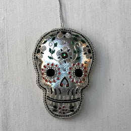 Large Silver Leatherette Skull Ornament