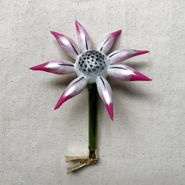 White & Pink Flower Clip-On Ornament