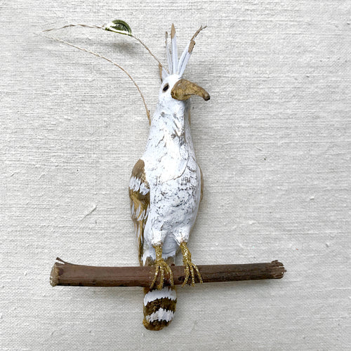Crested White Hoope Ornament