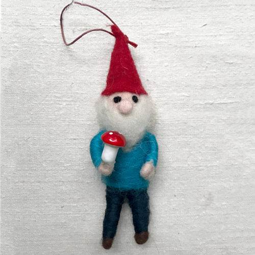 Forrest Gnome in Blue Ornament