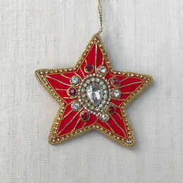 Red Velvet Star Burst Ornament with Clear & Red Crystals