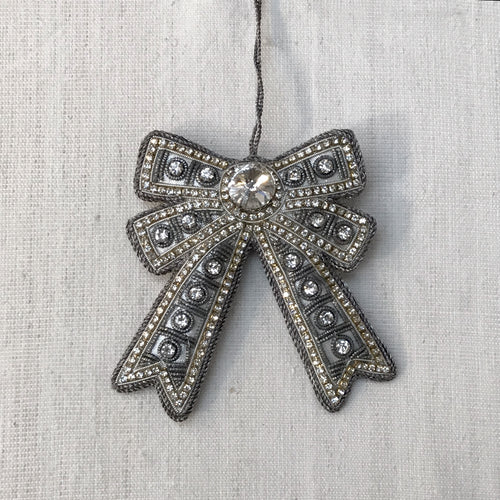 Antique Silver Bow Ornament with Crystals