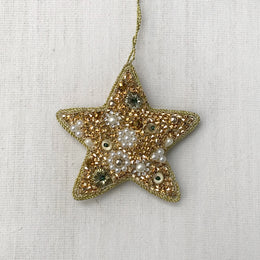 Beaded Gold Start Ornament