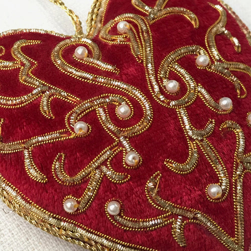 Red Velvet Heart Ornament with Pearls