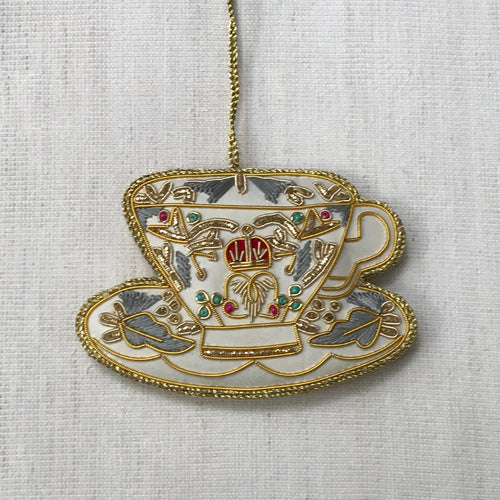 White Satin Royal Teacup Ornament