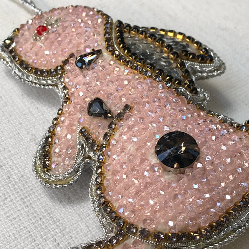 Pale Pink Beaded Bunny with Crystals