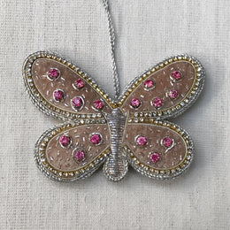 Champagne Velvet Butterfly with Crystals