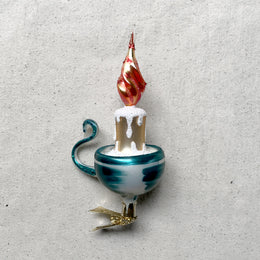 Blue Candleholder Clip-On Ornament
