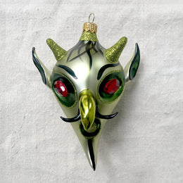 Jeweled Green Devil Head Ornament