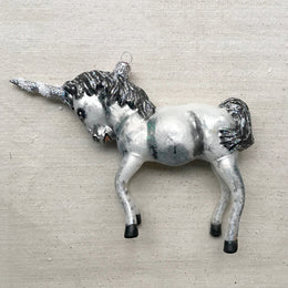 Grey Unicorn Ornament